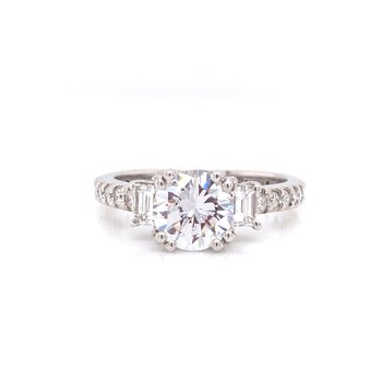 14K White Gold Round Solitaire with 2-Stone Baguettes and Diamond Shank