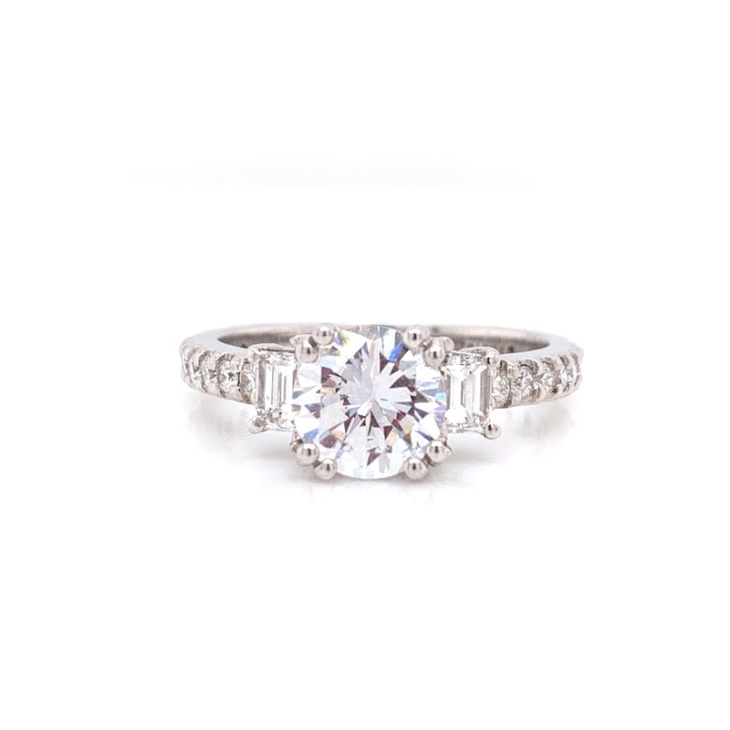 Corinth Collections  14K White Gold Round Solitaire with 2-Stone Baguettes and Diamond Shank