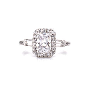14K White Gold Radiant Center with Baguette Side Stones Engagement Ring