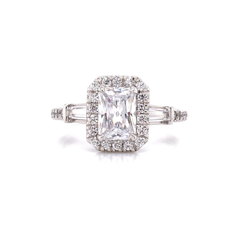 Corinth Collections  14K White Gold Radiant Center with Baguette Side Stones Engagement Ring