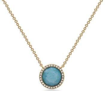 14 Karat Yellow Gold Round Amazonite with Diamond Halo Fashion Necklace