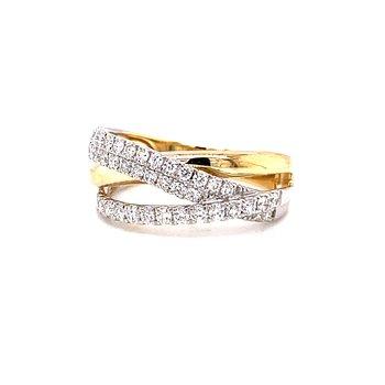 14 Karat White and Yellow Gold Intertwined Diamond Wide Fashion Ring
