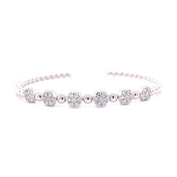 14 Karat White Gold Six Stone Diamond Cuff