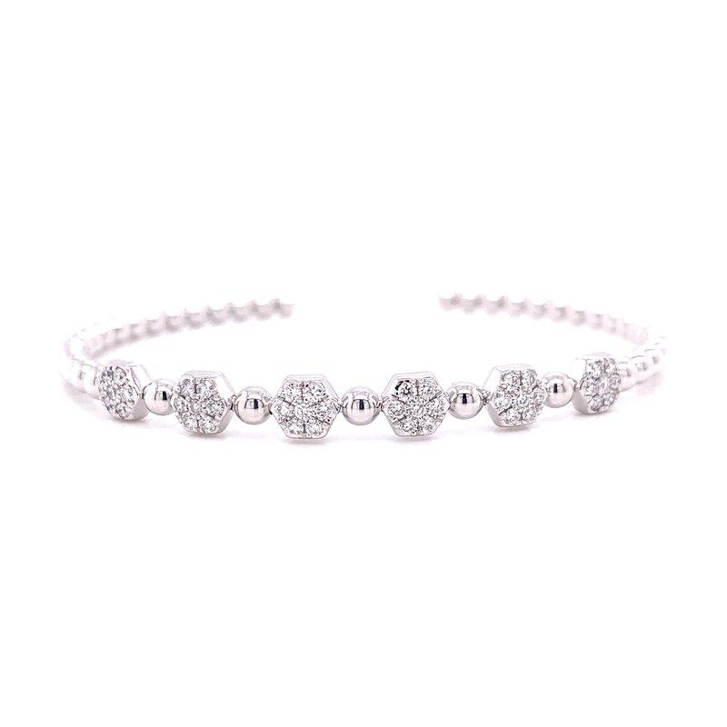 Rego Designs 14 Karat White Gold Six Stone Diamond Cuff