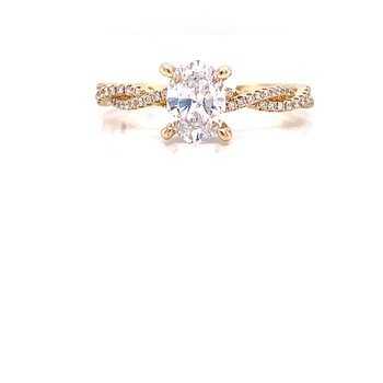14K Yellow Gold Infinity Oval Solitaire