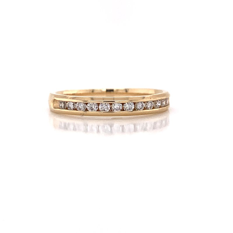 Corinth Collections  14K Yellow Gold Round Diamond Band Channel Set
