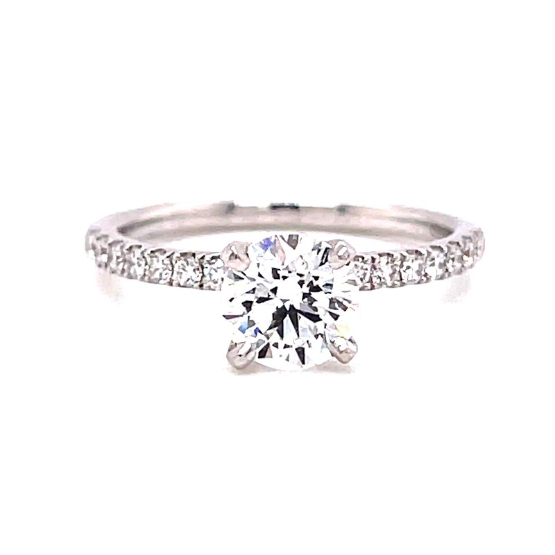 Corinth Collections  14 Karat White Gold Brilliant Round Cut Center Solitaire Engagement Ring with Diamond Shank