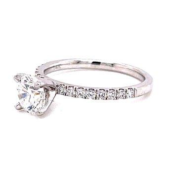 14 Karat White Gold Brilliant Round Cut Center Solitaire Engagement Ring with Diamond Shank
