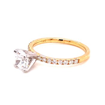 14 Karat Yellow Gold Brilliant Round Cut Center Solitaire Engagement Ring with Diamonds on Shank