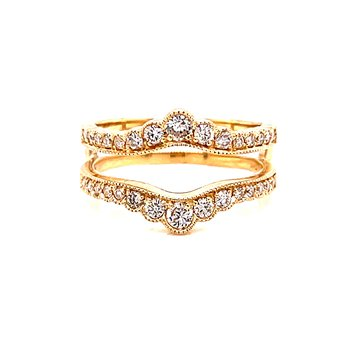 14 Karat Yellow Gold Scalloped Diamond Ring Guard with Beaded Accents