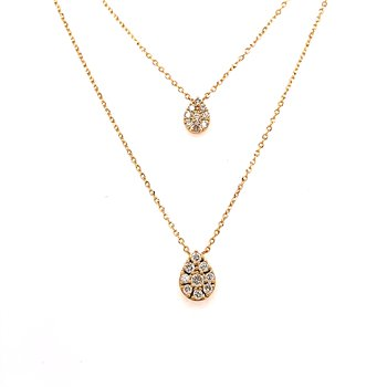 14 Karat Yellow Pear Shape Double Diamond Layer Necklace