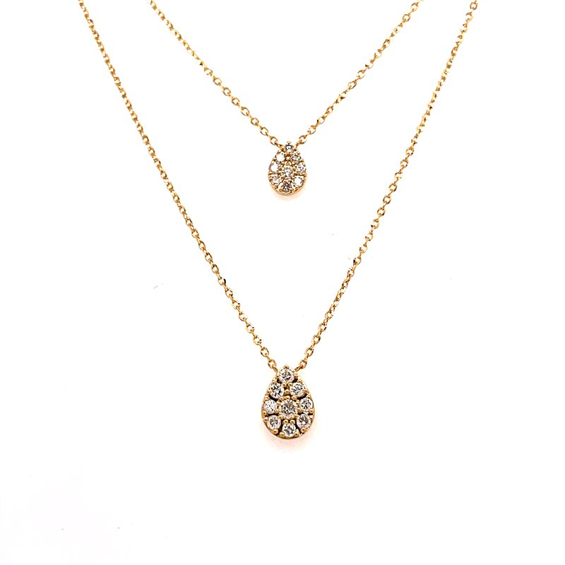 Corinth Collections  14 Karat Yellow Pear Shape Double Diamond Layer Necklace