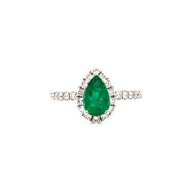 14 Karat White Gold Pear Cut Emerald with Diamond Halo Ring