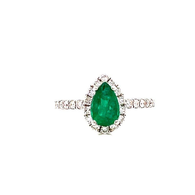 Corinth Collections  14 Karat White Gold Pear Cut Emerald with Diamond Halo Ring