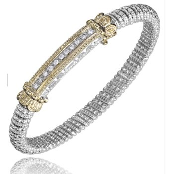 14 Karat Yellow Gold and Sterling Silver Diamond Bar with Yellow Gold Beaded Accents Vahan Bracelet