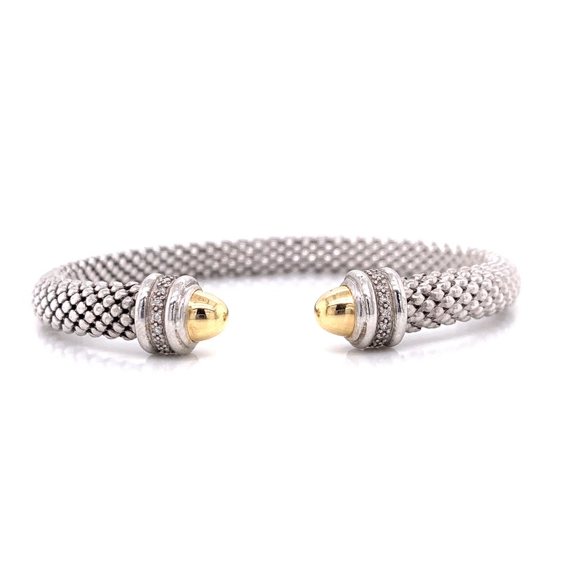 Corinth Collections  Sterling Silver Wide Cuff with 18K Yellow Gold Rondell Tips