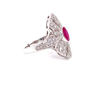 10 Karat White Gold Ruby and Diamond Vintage Fashion Ring