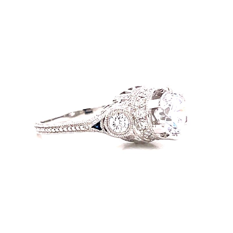 Corinth Collections  14 Karat White Gold Round 3-Stone Vintage Style Engagement Ring with Sapphire and Diamond Details
