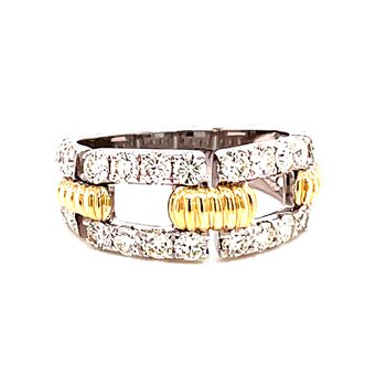 14 Karat Yellow and White Gold Round Open Diamond Band with Gold Rope Accent