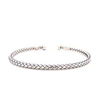 Italian Silver Traversa Open Cuff Bracelet