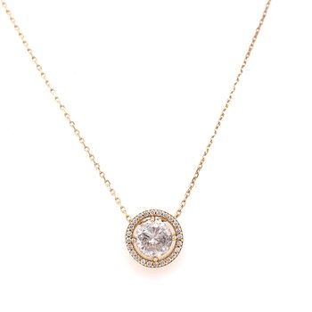 14K Yellow Gold RBC Diamond Halo Necklace