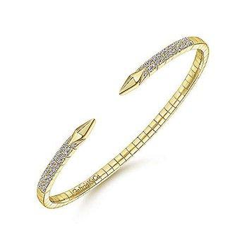 14 Karat Yellow Gold Split Diamond Spear Bangle Bracelet