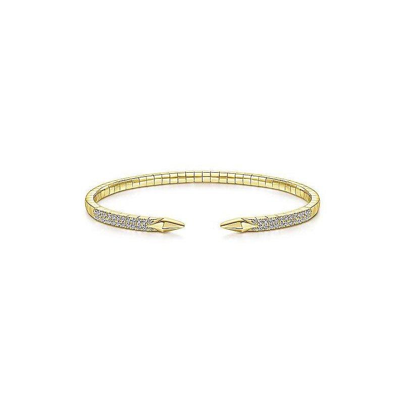 Gabriel 14 Karat Yellow Gold Split Diamond Spear Bangle Bracelet