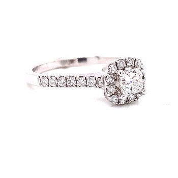 14 Karat White Gold Cushion Cut Center with Diamond Halo Engagement Ring