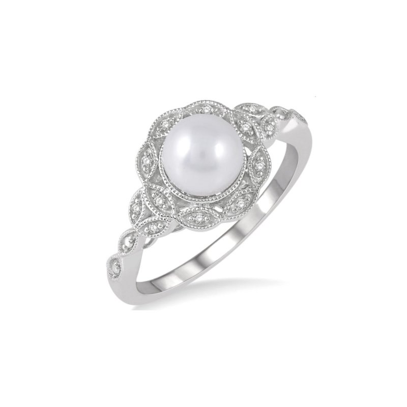 Ashi Diamonds Sterling Silver and Diamond Cultrated Pearl Fashion Ring Set in a Vintage Mounting