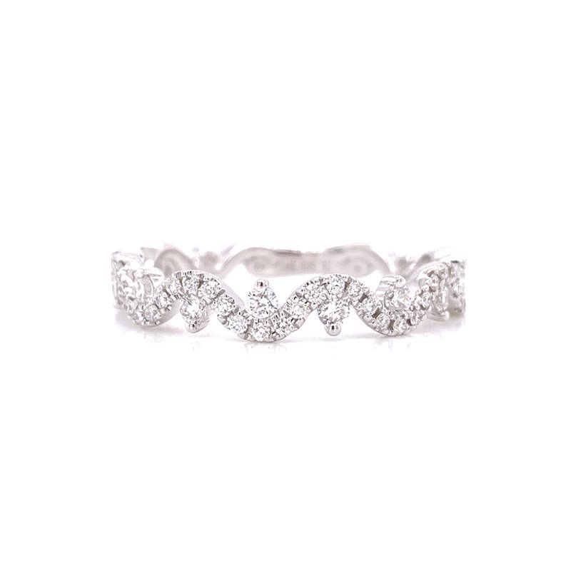 Corinth Collections  14K White Gold Curvy Band with Round Diamond Accents