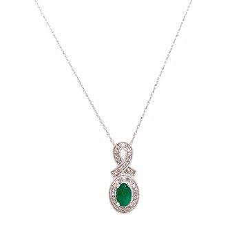 10K White Gold Oval Emerald and Diamond Necklace
