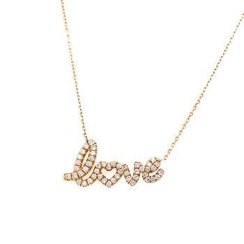 14 Karat Yellow Gold Diamond Love Necklace