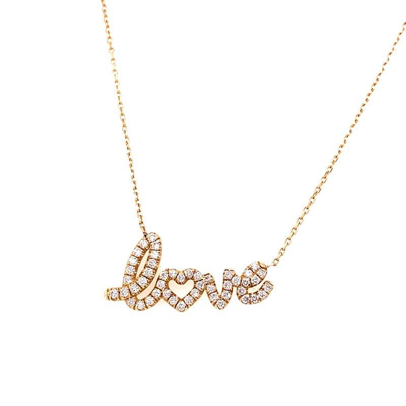 Corinth Collections  14 Karat Yellow Gold Diamond Love Necklace