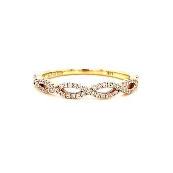 14 Karat Yellow Gold Infinity Diamond Stacker Band