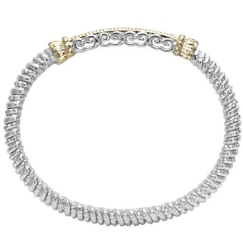14 Karat Yellow Gold and Sterling Silver Diamond Bar with Yellow Gold Beaded Accent Vahan Bracelet