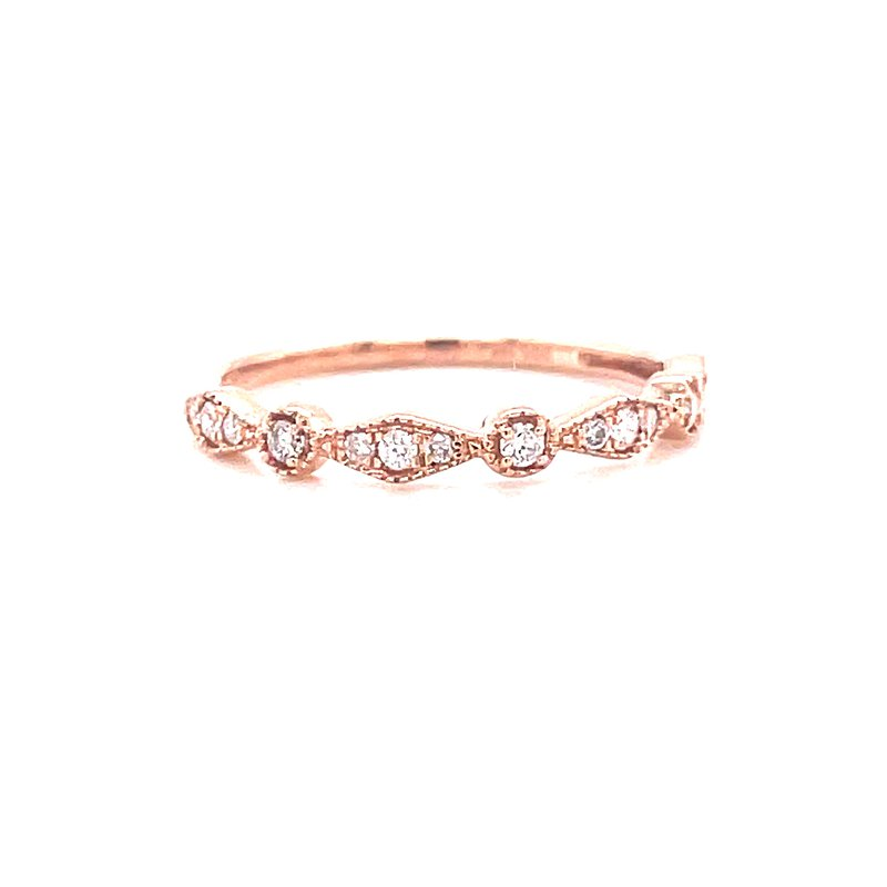 Corinth Collections  10 Karat Rose Gold Round and Marquis Diamond Stacker Band