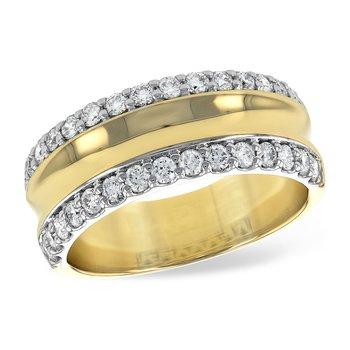 14 Karat Yellow and White Gold Wide Diamond Fashion Band