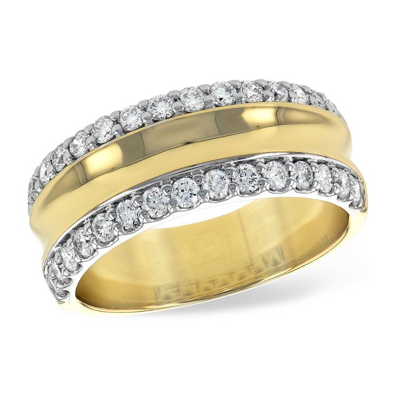 Allison-Kaufman 14 Karat Yellow and White Gold Wide Diamond Fashion Band