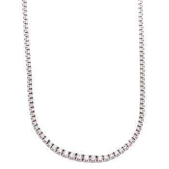 14 Karat White Gold Eternity Graduated Diamond Necklace