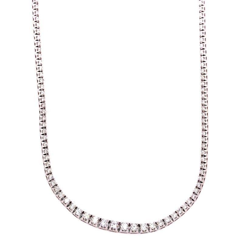 Corinth Collections  14 Karat White Gold Eternity Graduated Diamond Necklace