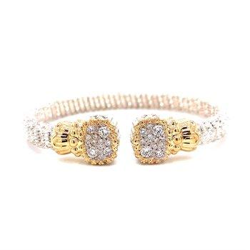 14 Karat Yellow Gold and Sterling Silver Vahan Diamond Cuff