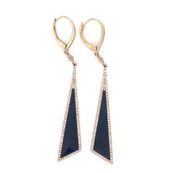 14K Yellow Gold Black Onyx Diamond Dangle Earrings