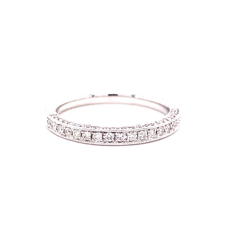 Corinth Collections  14 Karat White Gold Round Diamond Band with Milgrain Accent