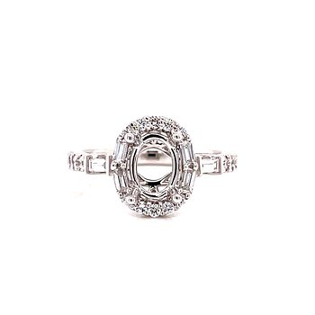 14 Karat White Gold 4 - Prong Oval Semi Mount with Round and Baguette Diamond Accent Engagement Ring