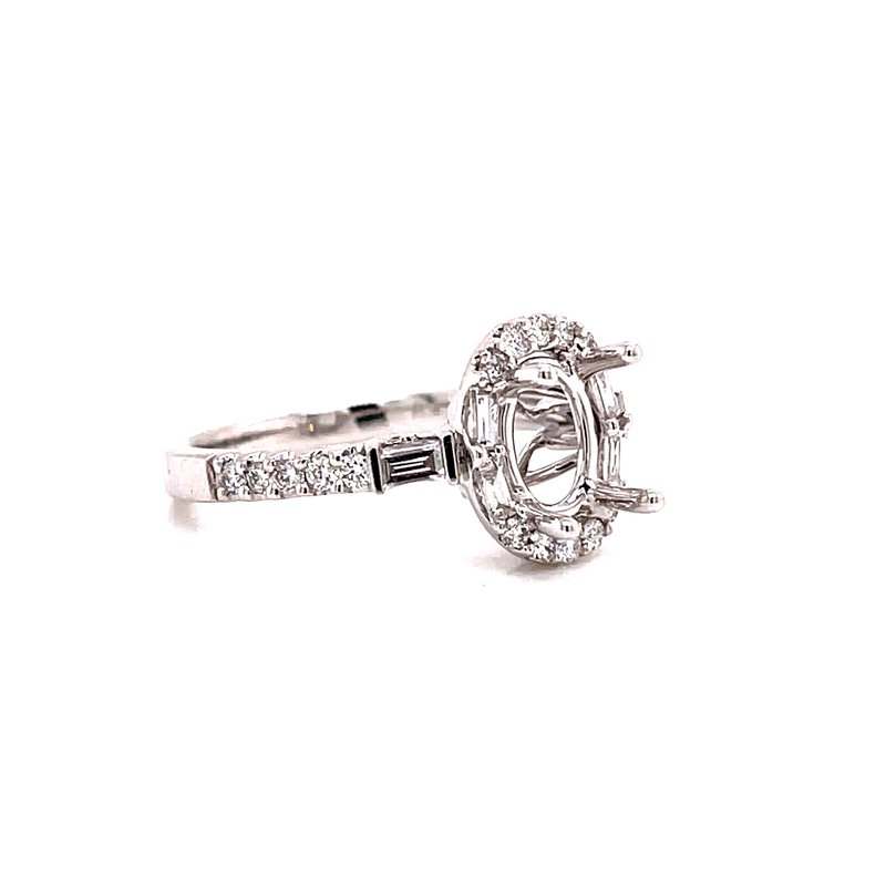 Ashi Diamonds 14 Karat White Gold 4 - Prong Oval Semi Mount with Round and Baguette Diamond Accent Engagement Ring