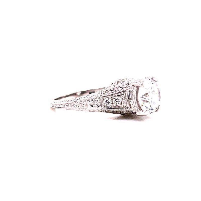 Corinth Collections  14 Karat White Gold Round Vintage Style Solitaire Engagement Ring with Tapered Diamond Shank and Milgrain Details