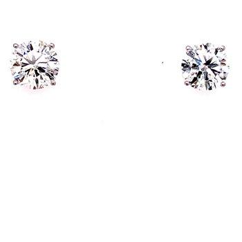 14 Karat White Gold 2.50 cttw Round Diamond Solitaire Stud Earrings