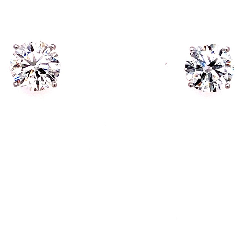 Corinth Collections  14 Karat White Gold 2.50 cttw Round Diamond Solitaire Stud Earrings