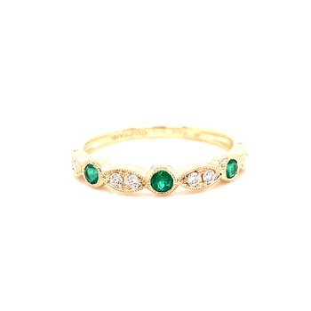 14 Karat Yellow Gold Emerald and Diamond Stacker Band