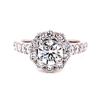 14 Karat White Gold Round Diamond Center Stone with Diamond Halo Engagement Ring and Wedding Band